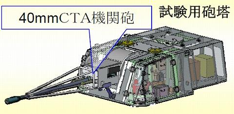 40mCTA機関砲試験砲塔