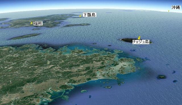 ぺクリョン島上空、高度150km